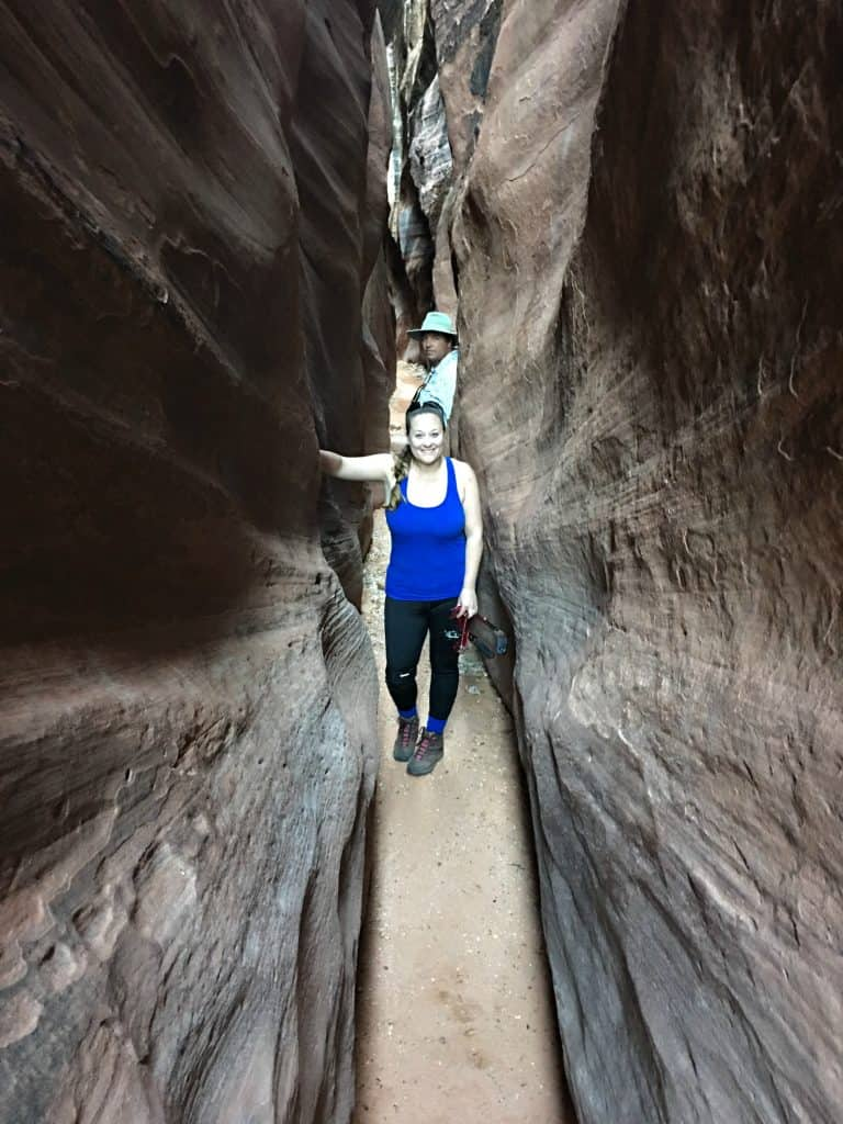 standing in slot canyon