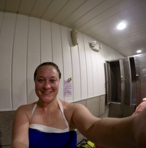 Frosted hair after swimming in Chena Hot Springs.