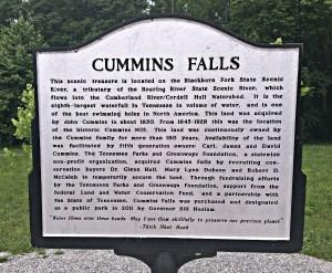 Sign at Cummins Falls